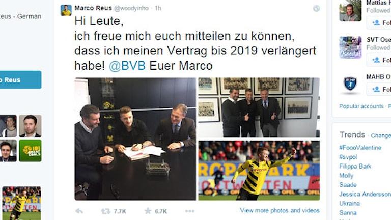 Marco Reus twitter - förlänger med Dortmund