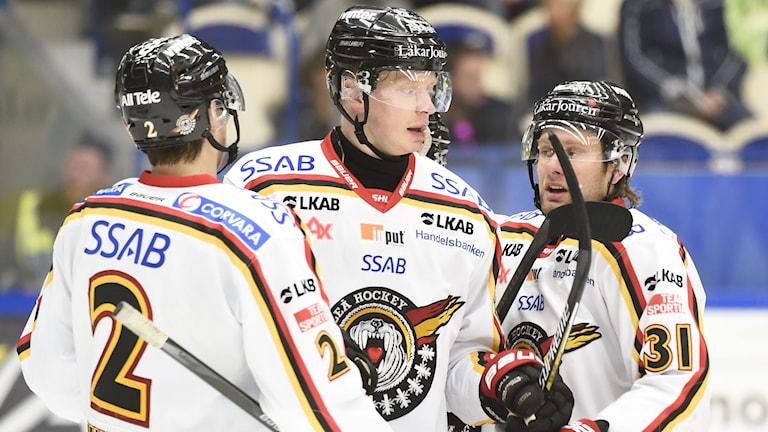 Luleås Dean Kukan (till vänster) satte det avgörande målet mot Linköping. Foto: Mikael Fritzon/TT