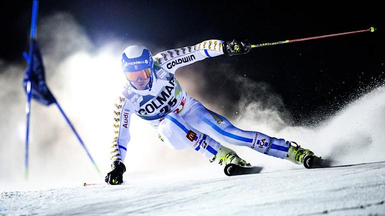 André Myhrer under storslalomtävlingen i Åre.