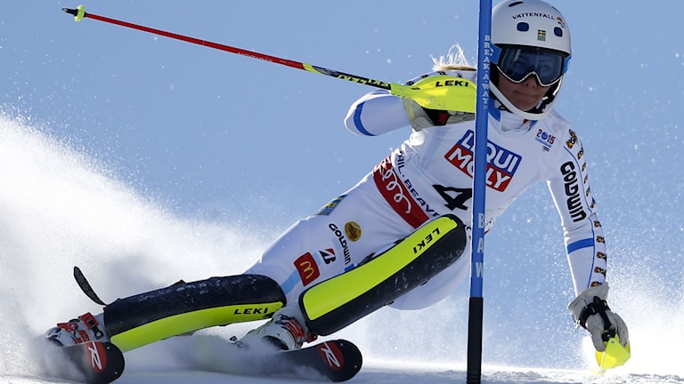 Sweden's Frida Hansdotter races down the course during the women s slalom competition at the alpine skiing world championships on Saturday, Feb. 14, 2015, in Beaver Creek, Colo. AP Photo/Marco Trovati