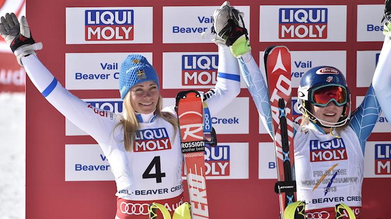 BEAVER CREEK 2015-02-14 Frida Hansdotter silver och Mikaela Shiffrin guld i damernas slalom vid alpina VM i Beaver Creek. Foto: Pontus Lundahl / TT