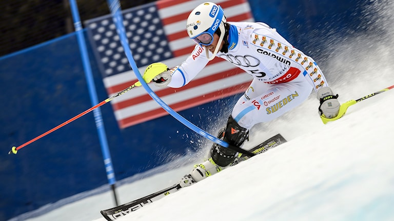 Sweden's Andre Myhrer clears a gate during the 2015 World Alpine Ski Championships men's slalom on February 15, 2015 in Beaver Creek, Colorado. AFP PHOTO / FABRICE COFFRINI