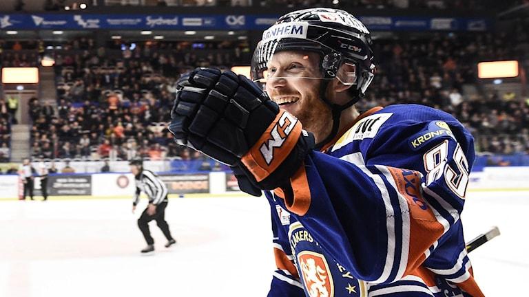 Liam Reddox satte 1-0 till Växjö. Foto: Foto: Mikael Fritzon/TT