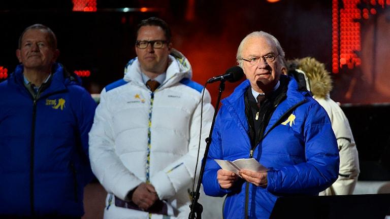 Kung Carl XVI Gustaf inviger skid-VM i Falun 2015. Foto: TT