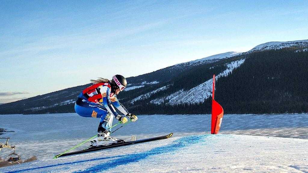 Anna Holmlund under världscuptävlingarna i Åre. Foto: Marcus Ericsson/TT