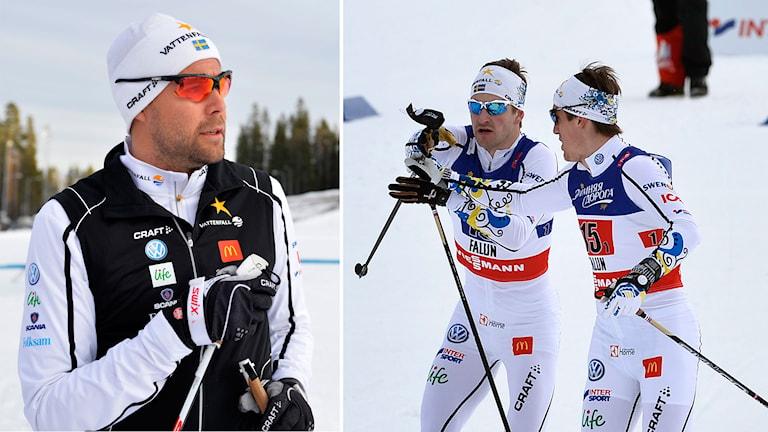 Förbundskapten Rikard Grip, Teodor Peterson och Calle Halfvarsson