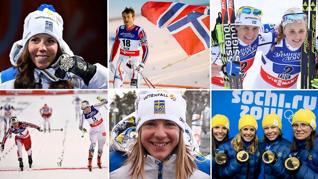 Collagebild, VM-snack efter halva VM, Charlotte Kalla, Petter Northug, Sofia Bleckur, Stina Nilsson, VM-laget, Foto: TT, Collage: SR
