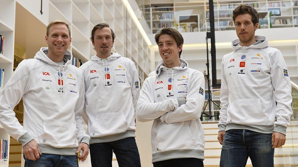 FALUN 2015-01-24 Daniel Richardsson, Johan Olsson, Calle Halfvarsson och Marcus Hellner efter pressträff inför 15 km fri stil. Foto: Anders Wiklund / TT