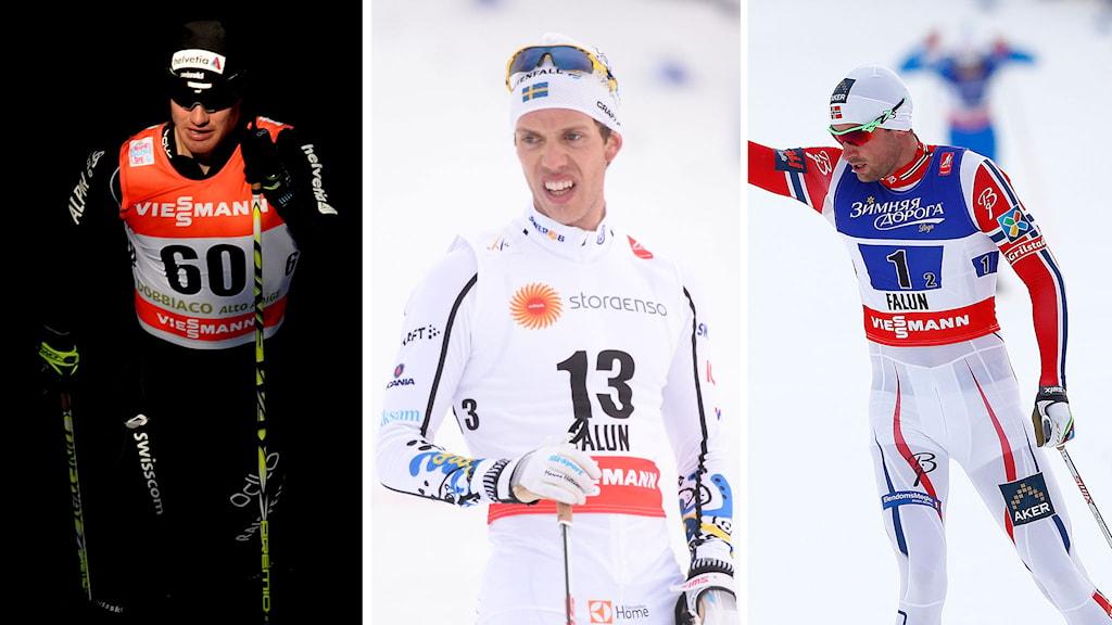 Dario Cologna, Marcus Hellner och Petter Northug
