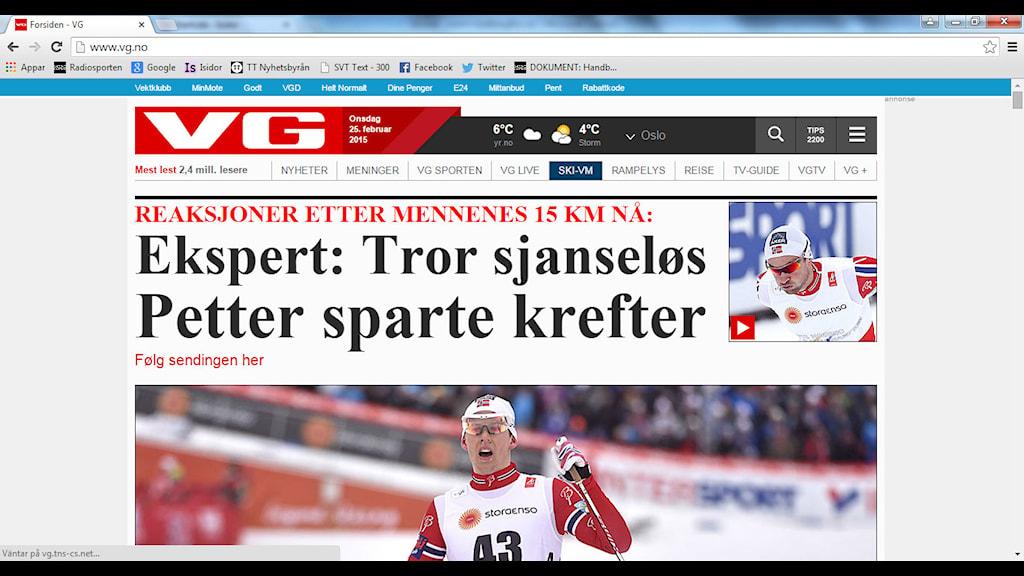 Print screen från VG.no Petter Northug