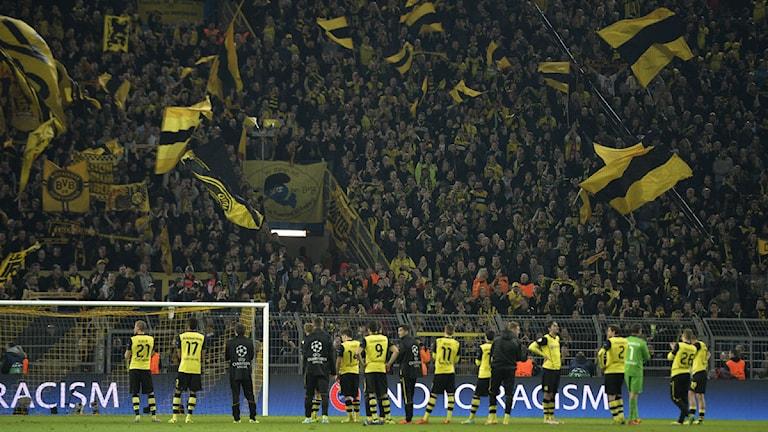 2014 Dortmunds spelare står inför Sudtribüne på Westphalenstadion. Foto: Martin Meissner/TT
