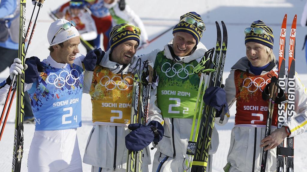 Guldlaget från OS i Sotji: Marcus Hellner, Johan Olsson, Daniel Richardsson och Lars Nelson