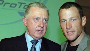 Arkivbild 2005: Hein Verbruggen (t.v.), ordförande i UCI, och Lance Armstrong.