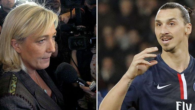 Collage Marine Le Pen Zlatan. Foto: TT, collage SR
