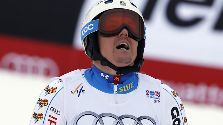 Sweden's Mattias Hargin reacts after the men s slalom competition at the Alpine skiing world championships on Sunday, Feb. 15, 2015, in Beaver Creek, Colo. AP Photo/Marco Trovati