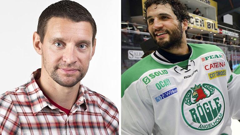 Radiosportens hockeyexpert Kristofer Ottosson (t.v.) och Rögles André Deveaux. Foton: SR och TT.