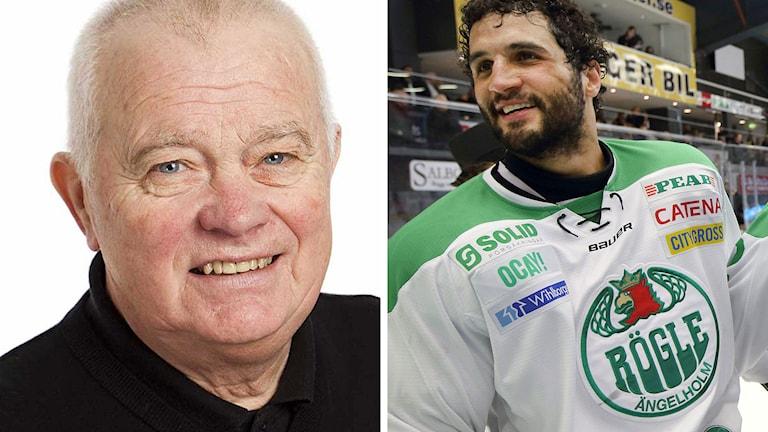 Radiosportens hockeyexpert L-G Jansson och Rögles Andre Deveaux. Foton: SR och TT.