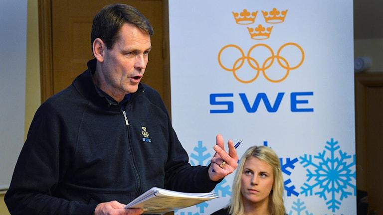 Peter Reinebo presenterar uttagna till Sotji-OS 2014. Foto: Anders Wiklund/TT