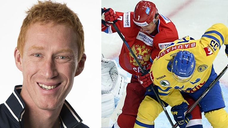 Montage med Jörgen Jönsson och match mellan Tre Kronor och Ryssland. Foto: Radiosporten/TT