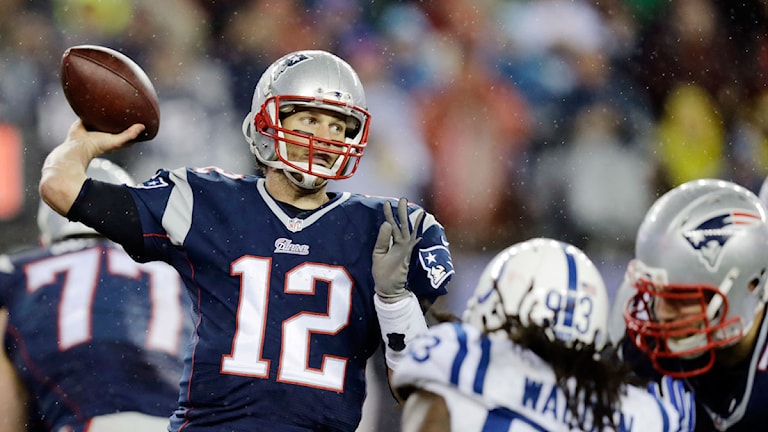 20150118 New England Patroits quarterback Tom Brady. Foto: Charles Krupa/TT