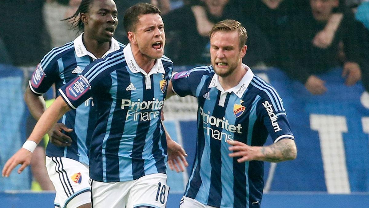 STOCKHOLM 2015-05-25 Djurgårdens Kerim Mrabti jublar efter att ha reducerat till 1-2 under måndagens allsvenska derby mellan Djurgårdens IF och AIK på Tele2 Arena i Stockholm. Foto: Sören Andersson / TT.