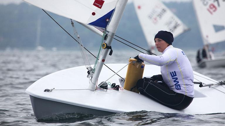 Josefin Olsson vid kappseglings-VM i Santander 2014. Foto: Oskar Kihlborg / SSS
