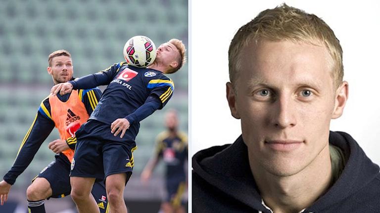 Sveriges herrlandslag i fotboll och Richard Henriksson. Foto: TT och Radiosporten