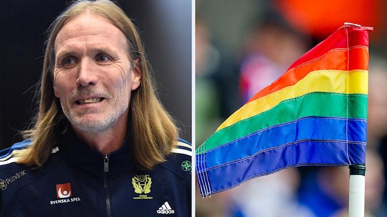 Staffan Olsson och en regnbågsflagga. Foto: Mikael Fritzon/TT, Jon Olav Nesvold NTB/TT