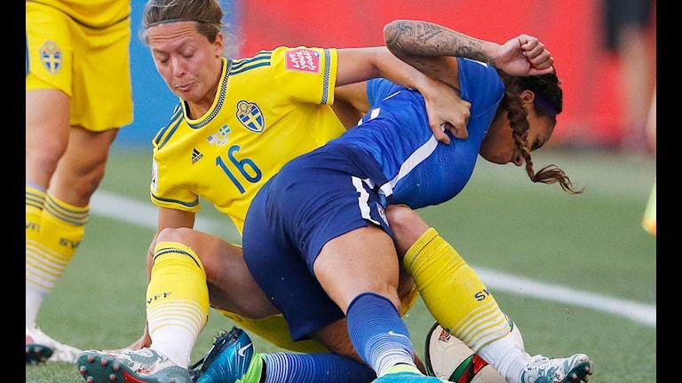 VM 2015 Sverige-USA Lina Nilsson. Foto: John Woods/TT