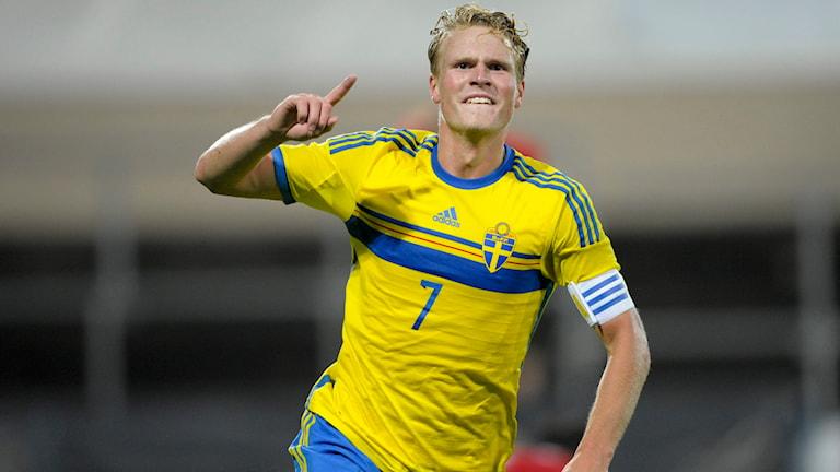 Oscar Hiljemark i U21-landslaget. Foto: Björn Lindgren/TT