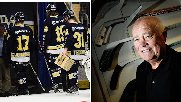 HV71 och hockeyexperten Lars-Gunnar Jansson. Foto: Lars Pehrson/SvD/TT, Mikael Fritzon/TT