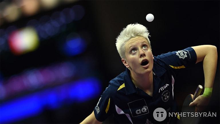 Bordtennisspelaren Matilda Ekholm. Foto: Johannes Eisek/AFP/TT