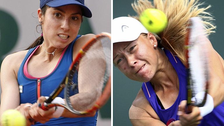 Från vänster: Christina McHale (USA) och Johanna Larsson ställs mot varandra i Wimbledons första omgång. Foton: TT.