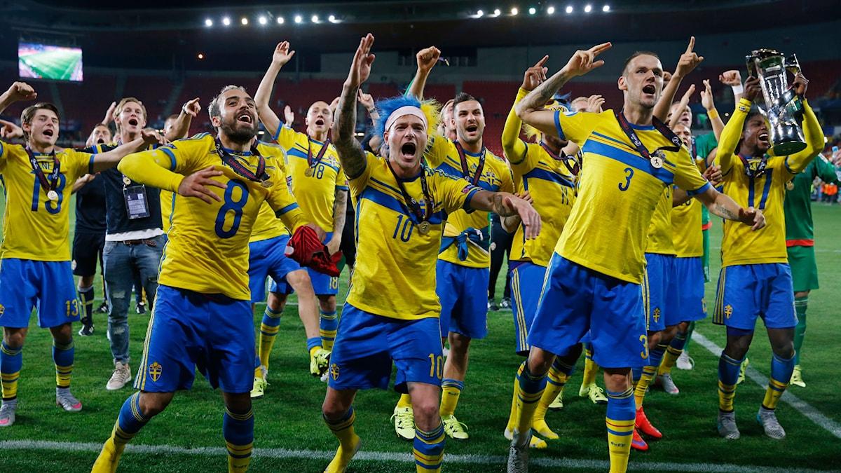 Svenskt U21-firande efter EM-guldet
