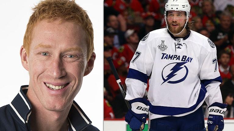 Radiosportens ishockeyexpert Jörgen Jönsson och färske Guldpucken-vinnaren Victor Hedman. Foton: SR och TT.