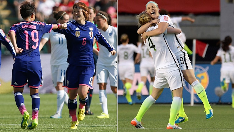 Regerande mästarna Japan ställs mot USA i VM-finalen. Foto: TT Kollage: SR