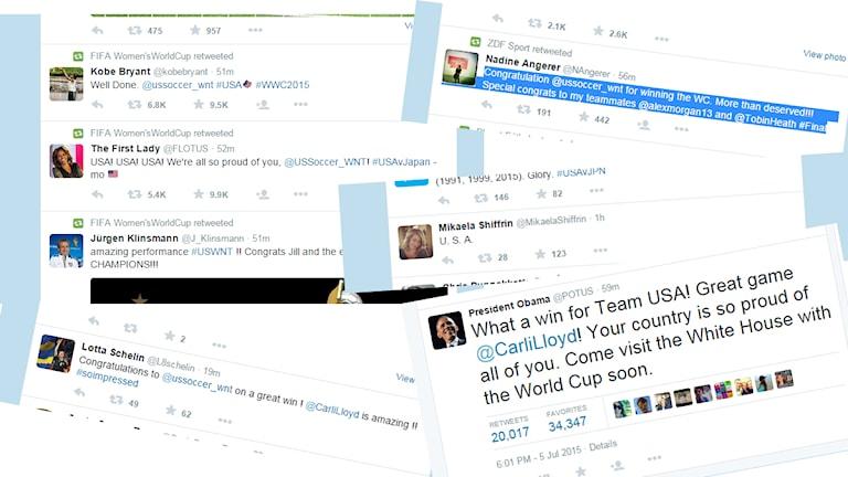 Twitter USA-hyllningar efter VM-guldet