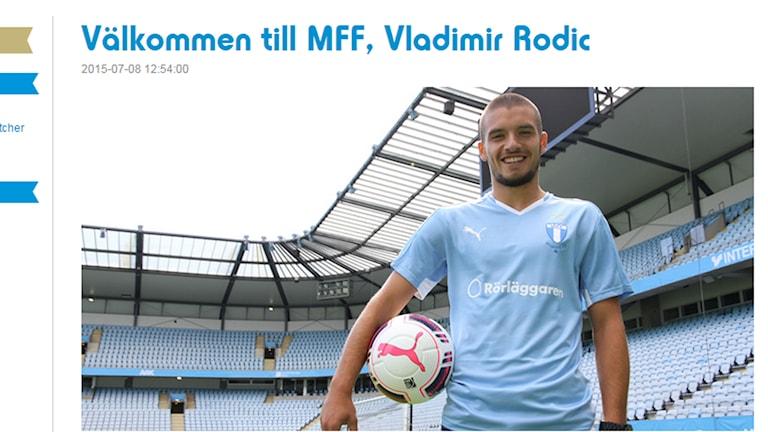 Malmö FFs nye mittfältare Vladimir Rodic. Foto: Skärmdump från Malmö FFs hemsida