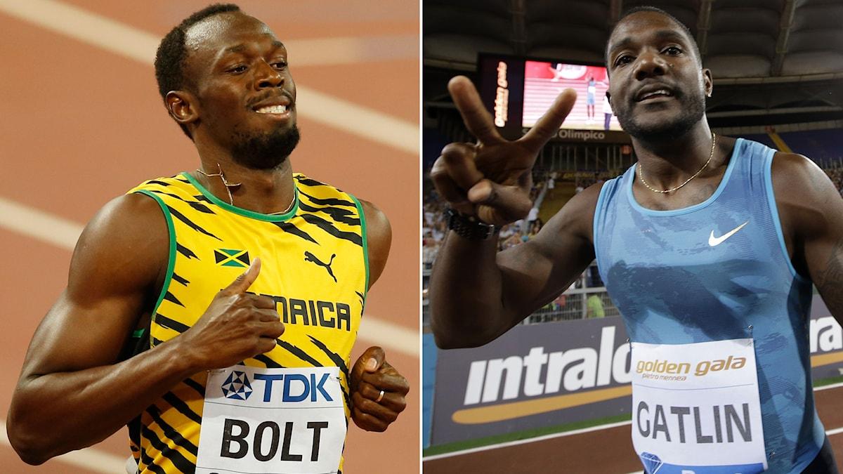 Usain Bolt och Justin Gatlin. Foto: TT Kollage: SR