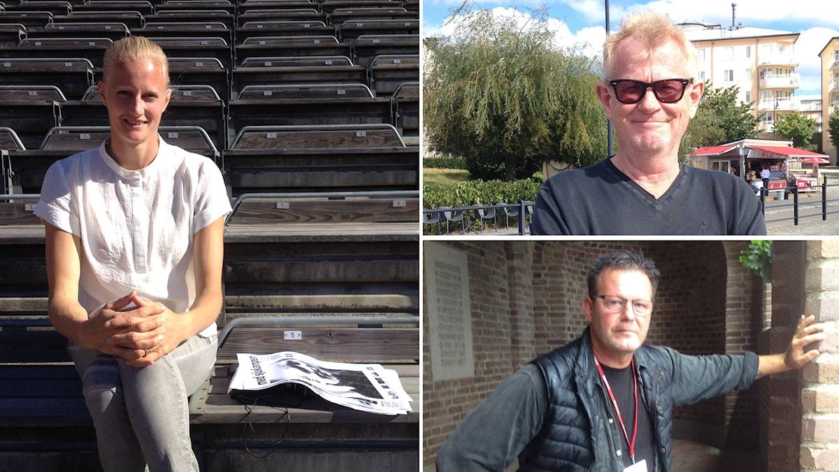 Carolina Klüft (t.v), Lasse Anrell (ö.h) och Miro Zalar (n.v). Foto: David Hjorter / Sveriges Radio