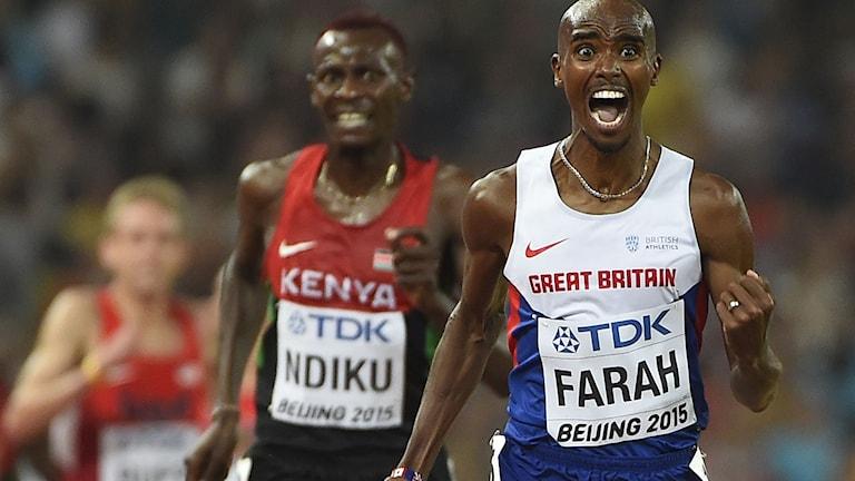 20150829 PEKING: Mo Farah spurtar hem VM-guldet på 5000 meter. Foto: Olivier Morin/TT.