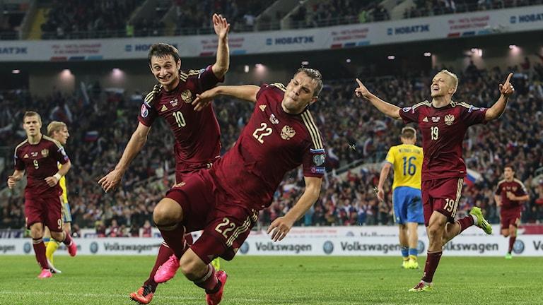 Ryssland gör 1-0 på Sverige. Foto: TT