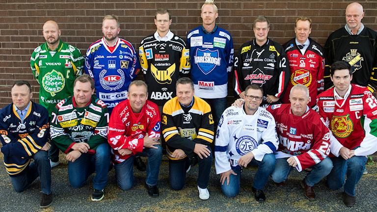 STOCKHOLM 20150907 Övre raden fr v: Tommy Jonsson ( IF Björklöven ), Fredrik Söderström ( IK Oskarshamn ), Martin Filander ( VIK Västerås HK ), Tobias Thermell ( BIK Karlskoga ), Per Kenttä ( Asplöven HC ), Niklas Eriksson ( Almtuna IS ) och Roger Melin (AIK). Nedre raden fr v: Göran Tärnlund ( Sundsvall Hockey ), Magnus Sundquist ( Tingsryds AIF ), Mikael Johansson ( HC Vita Hästen ), Stephan 'Lillis' Lundh ( IK Pantern ), Sjur Robert Nilsson ( Leksands IF ), Roger Forsberg ( Timrå IK ) ochJeremy Colliton (Mora IK ) då hockeyallsvenskan på måndagen hade upptaktsträff i Täby. Foto Bertil Ericson / TT.