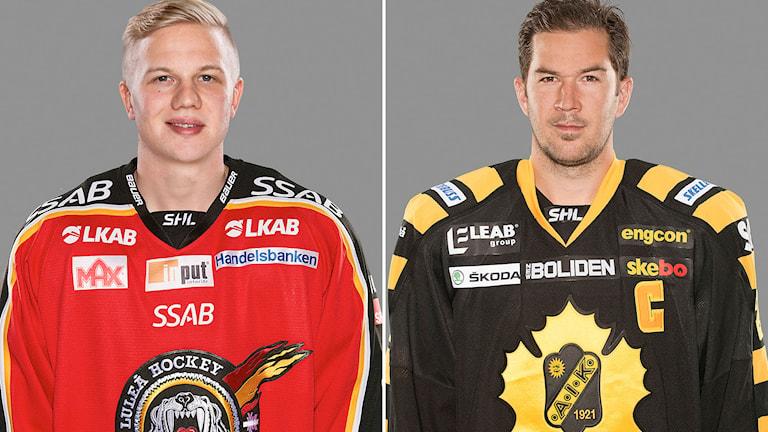 Luleås nyförvärv Toni Rajala och Skellefteås hemvändare Jimmie Ericsson. Foton: Stig Kenne/TT.