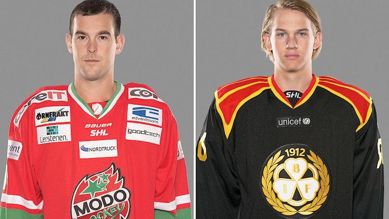Modos Bobby Butler och Brynäs Oskar Lindblom. Foton: Stig Kenne/TT.