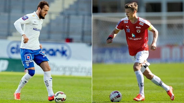 Norrköpings Emir Kujovic och Kalmars Viktor Elm. Foto: TT Kollage: SR