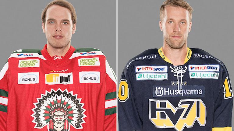 Frölundas målvaktsförvärv Johan Gustafsson och HV71:s hemvändande forward Martin Thörnberg. Foton: Stig Kenne/TT.