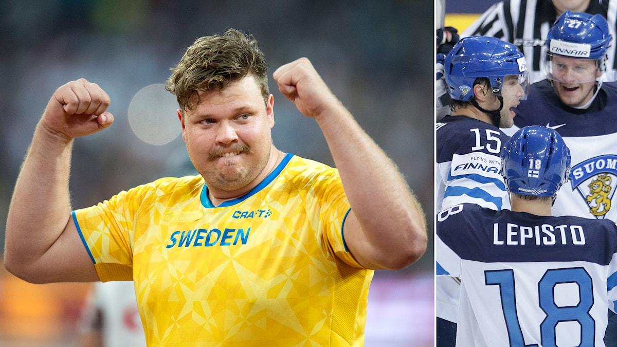 Den svenske diskuskastaren Daniel Ståhl håller på Finland i ishockey. Foto: TT Kollage: SR