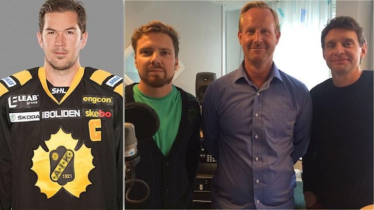Jimmie Ericsson, Martin Sundelius, Magnus Wahlman och Kristofer Ottosson hörs i säsongspremiären av Istid, Radiosportens hockeypodd. Foton: TT och Martin Marhlo/SR.