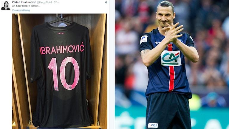 Zlatan visar upp matchtröjan på sitt twitterkonto en timme innan match. Foto: Skärmdump/TT